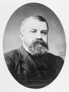 Dwight Lyman Moody, founder of the Northfield Seminary, Mount Hermon School, and the Moody Bible Institute, circa 1900.
