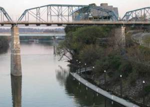 A picture of the Chattanooga Riverwalk near where we saw a 40-foot snake (well maybe 4-feet)