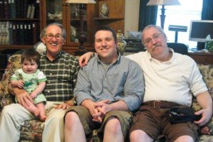 "This picture is abut four years old, but one of my favorites of my dad.   He's the ""old"" man in the picture--holding his great grandson (David Lee) and sitting with his grandson (Lee) and me."
