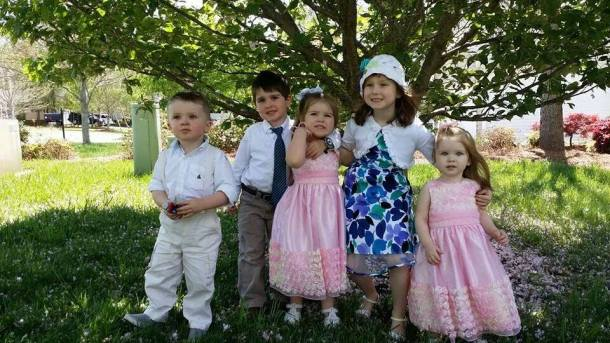 All five of my dearly loved grandchildren (L-R): Rory, David Lee, Ella, Trinitee, and of course Annie